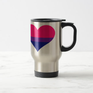 Bisexual flag heart travel mug