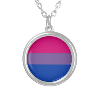 Bisexual LGBT Pride Rainbow Flag Silver Plated Necklace