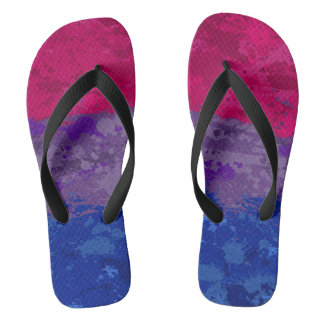 Bisexual Paint Splatter Flag Flip Flops
