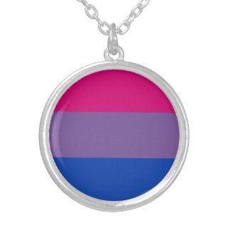 Bisexual Pride Flag Silver Plated Necklace