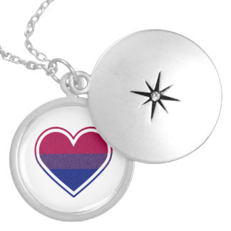 Bisexual Pride Glitter Heart Locket Necklace