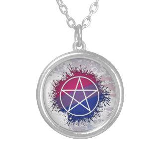 Bisexual Pride Pentacle Round Pendant Necklace