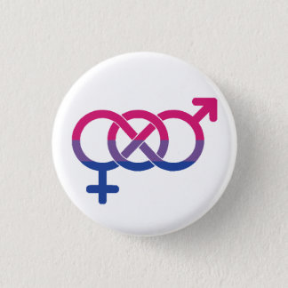Bisexual Symbol and Flag Badge 1 Inch Round Button