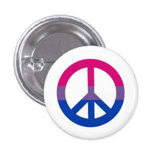Bisexuality flag peace sign button pin