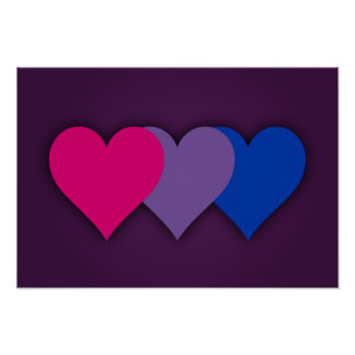 Bisexuality pride hearts Poster