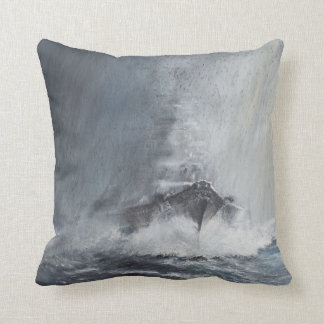 Bismarck through curtains of rain sleet throw pillow