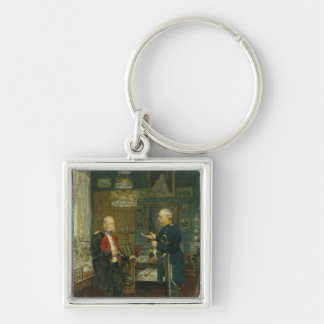 Bismarck with Emperor Wilhelm I Silver-Colored Square Keychain