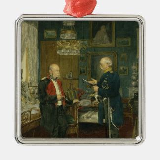 Bismarck with Emperor Wilhelm I Silver-Colored Square Ornament
