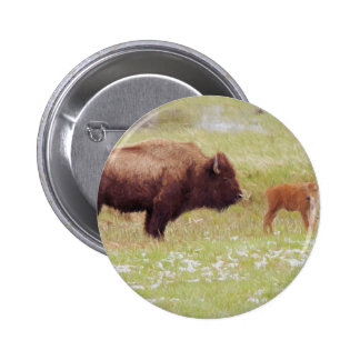 Bison and Calf in Yellowstone 2 Inch Round Button