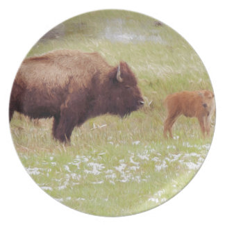 Bison and Calf in Yellowstone Party Plates
