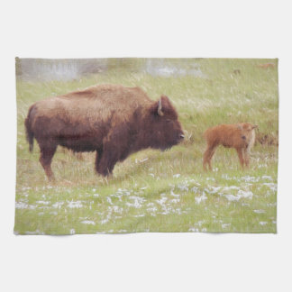 Bison and Calf in Yellowstone Towels