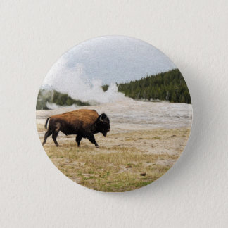 Bison and Old Faithful 2 Inch Round Button