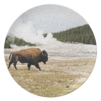 Bison and Old Faithful Dinner Plates