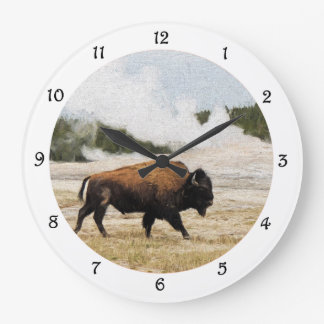 Bison and Old Faithful Wall Clock