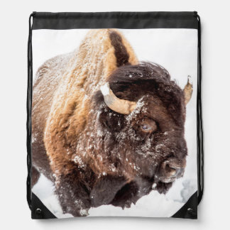 Bison bull foraging in deep snow drawstring backpack