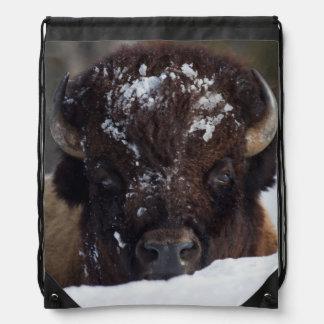 Bison Bull, winter 2 Drawstring Bags