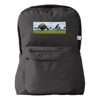 Bison charging homo erectus - 3D render Backpack