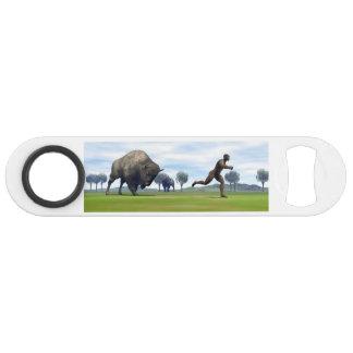 Bison charging homo erectus - 3D render Bar Key