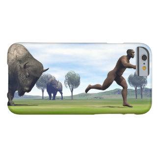 Bison charging homo erectus - 3D render Barely There iPhone 6 Case