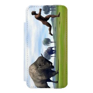 Bison charging homo erectus - 3D render Incipio Watson™ iPhone 5 Wallet Case