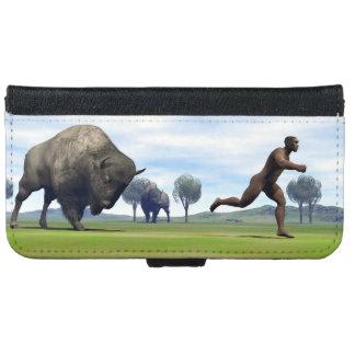 Bison charging homo erectus - 3D render iPhone 6 Wallet Case
