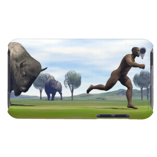 Bison charging homo erectus - 3D render iPod Touch Case-Mate Case