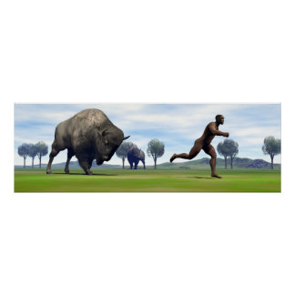 Bison charging homo erectus - 3D render Poster