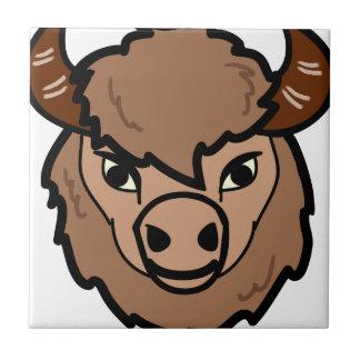 bison face art tile