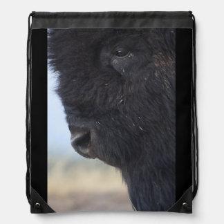 bison face drawstring bags