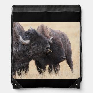 bison friendship drawstring backpacks