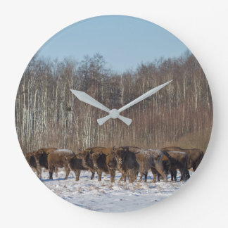 Bison Herd Large Clock