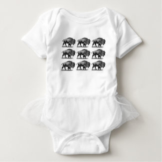 bison in rows baby bodysuit