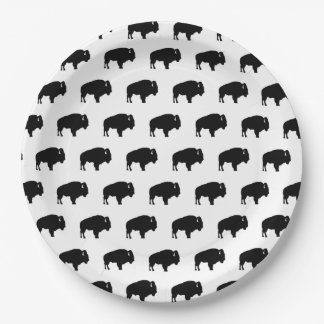 bison pattern paper plate