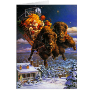 Bison Pulling Santa Claus Card