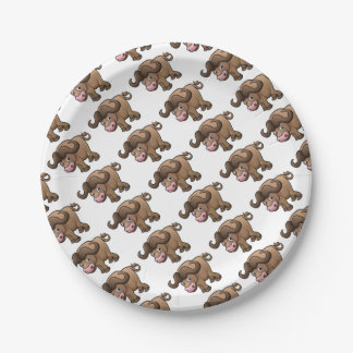 Bison Safari Animals Cartoon Character 7 Inch Paper Plate