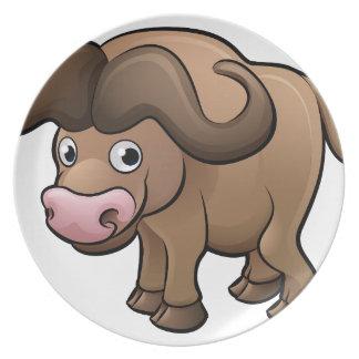 Bison Safari Animals Cartoon Character Plate
