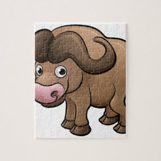 Bison Safari Animals Cartoon Character Puzzles
