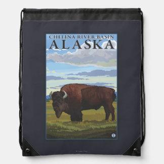 Bison Scene - Chitina River Basin, Alaska Drawstring Backpack