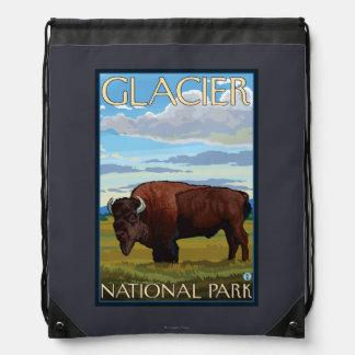 Bison Scene - Glacier National Park, MT Drawstring Backpacks