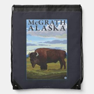 Bison Scene - McGrath, Alaska Drawstring Backpacks