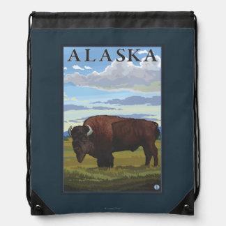 Bison Scene- Vintage Travel Poster Backpack