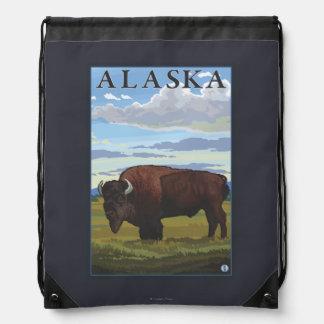 Bison Scene- Vintage Travel Poster Drawstring Bag