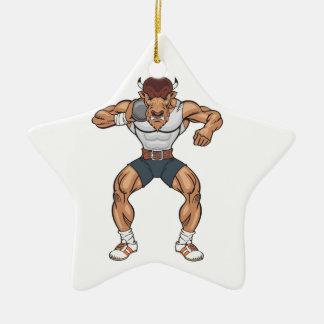 bison shot putter ceramic star ornament