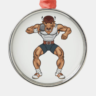 bison shot putter Silver-Colored round ornament