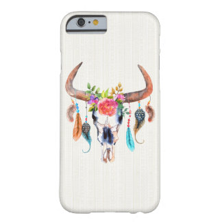 Bison Skull And Feathers And Flowers Barely There iPhone 6 Case
