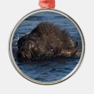 bison swimming metal ornament