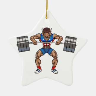 bison weight lifter ceramic star ornament