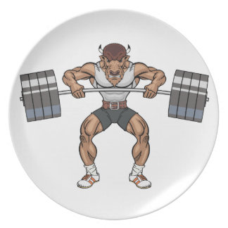 bison weight lifter party plate