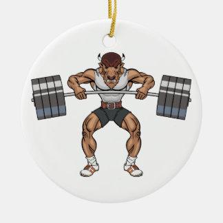 bison weight lifter round ceramic ornament