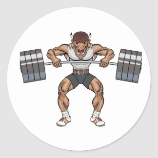 bison weight lifter round sticker